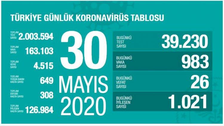Türkiye'deki Güncel Durum 30.05.2020