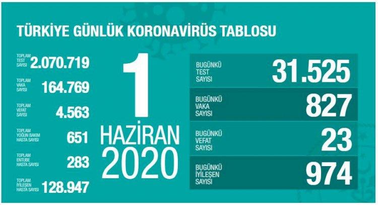 Türkiye'deki Güncel Durum 01.06.2020